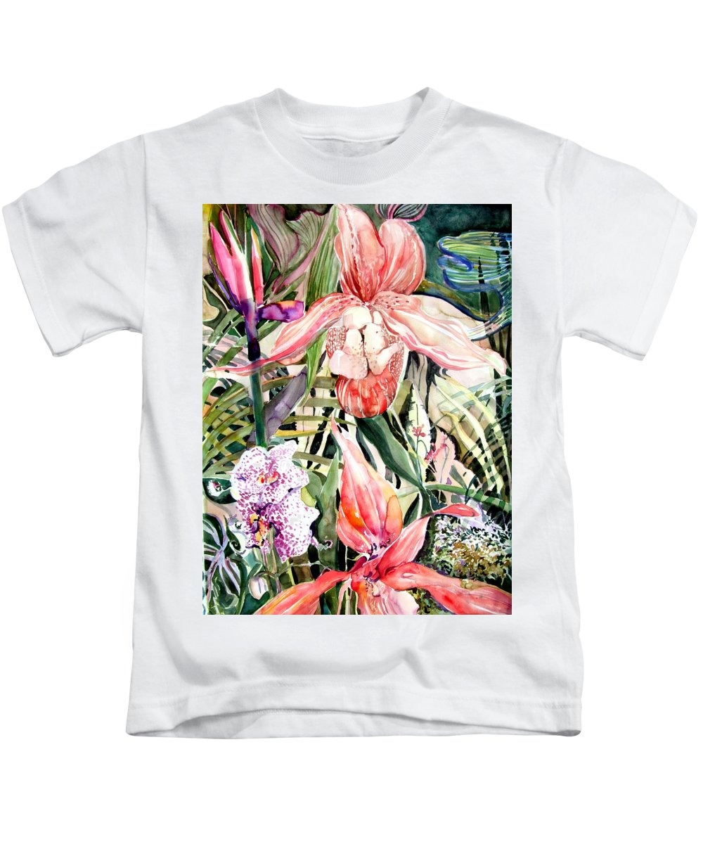 Watercolor Kids T-Shirt featuring the painting Tropical Orchids by Mindy Newman