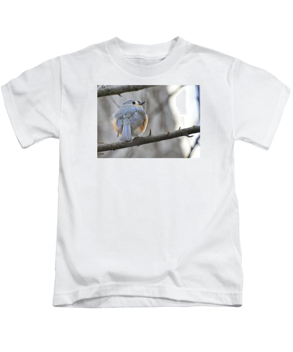 Kids T-Shirt featuring the photograph Tufted Titmouse 01 by Robert Hayes