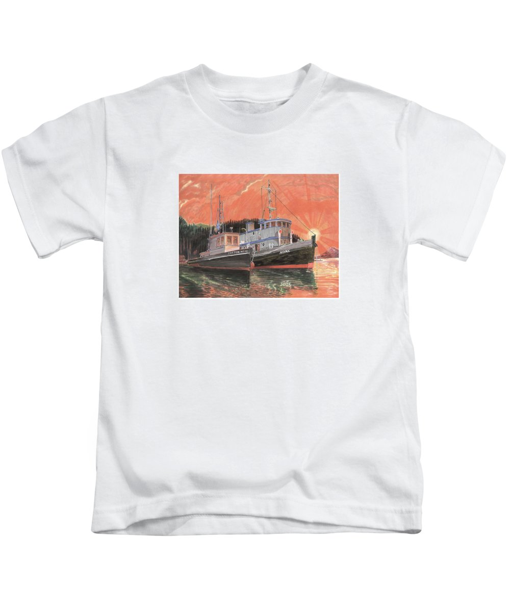 Tug Boats Anchored In Red Sky Kids T-Shirt featuring the painting Tug Boats anchored in red sky by Jack Pumphrey