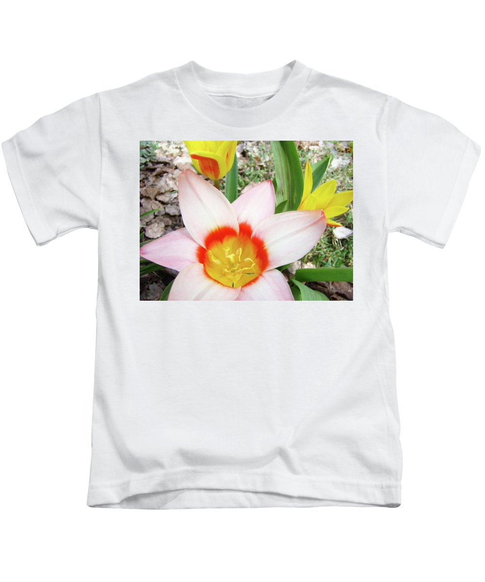 �tulips Artwork� Kids T-Shirt featuring the photograph Tulips Artwork 9 Spring Floral Pink Tulip Flowers Art Prints by Baslee Troutman