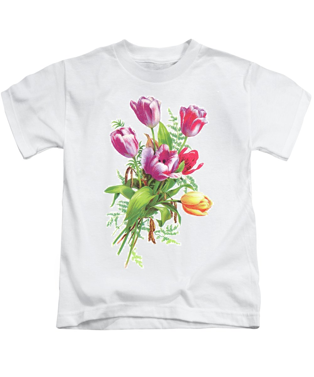 Tulip Kids T-Shirt featuring the drawing Tulips by Neil Baylis