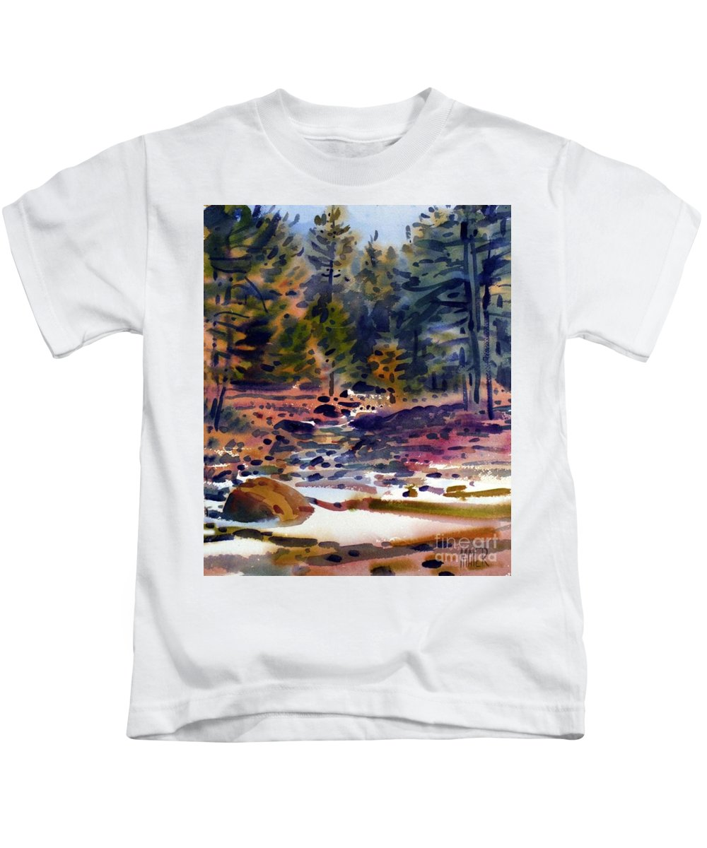 Tuolumne River Kids T-Shirt featuring the painting Tuolumne River In October by Donald Maier
