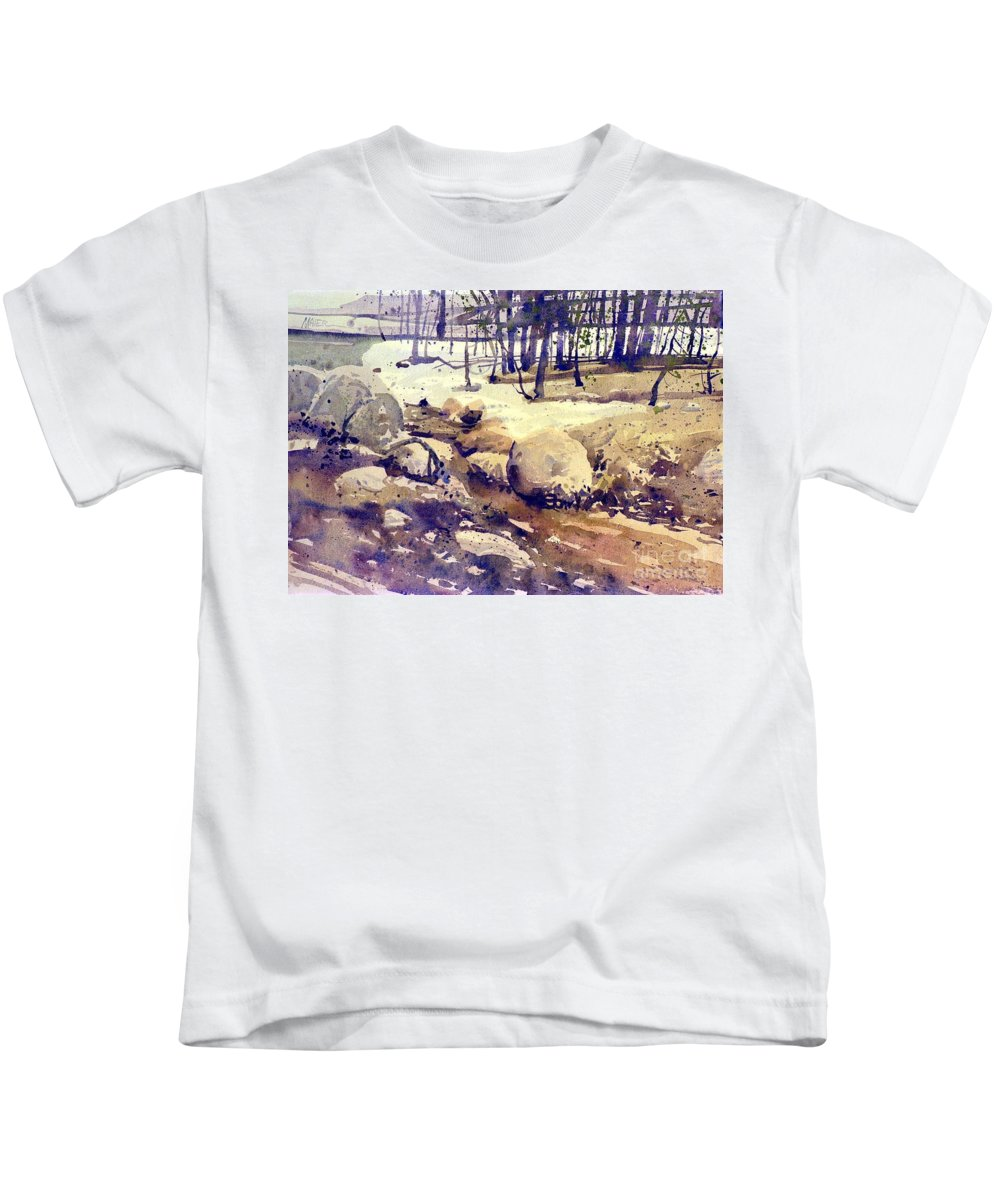 Stream Kids T-Shirt featuring the painting Tuolumne Stream by Donald Maier