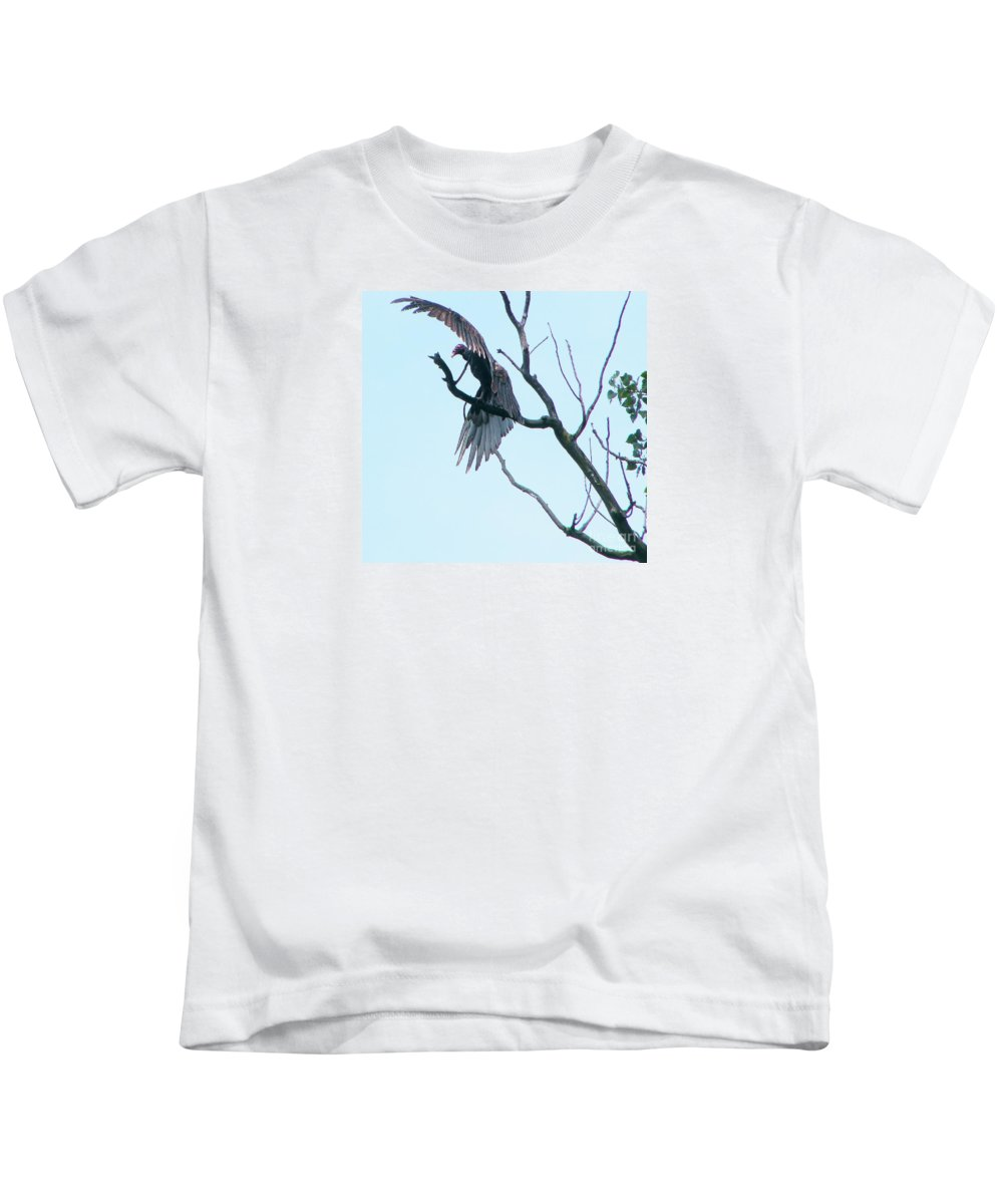 Turkey Vulture Kids T-Shirt featuring the photograph Turkey Vulture Drying Wings After Rain   Indiana Summer by Rory Cubel