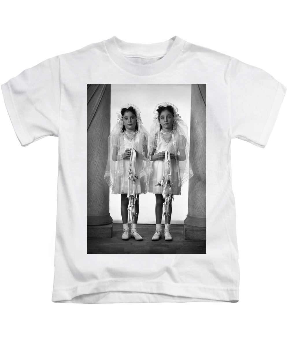 First Communion Kids T-Shirt featuring the photograph Twins First Communion 2 by Seely Studio
