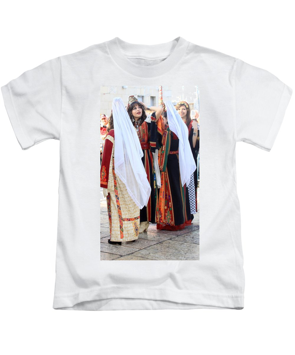 Palestine Kids T-Shirt featuring the photograph Two By Two by Munir Alawi