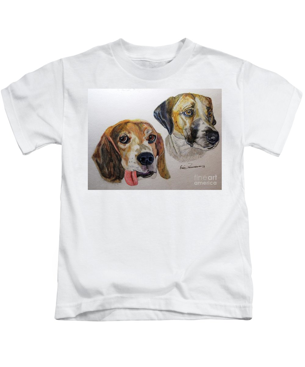 Dogs Kids T-Shirt featuring the drawing Two Dogs by Eric Pearson