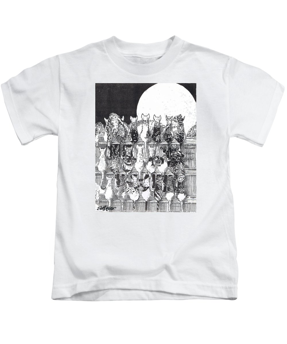 Cats Kids T-Shirt featuring the drawing Two Dozen And One Cats by Seth Weaver