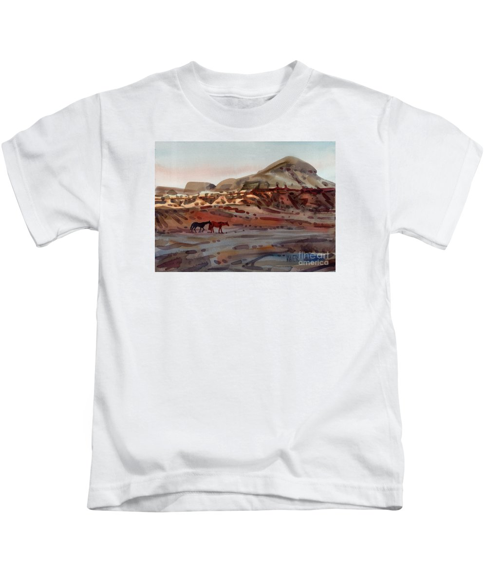 Horses Kids T-Shirt featuring the painting Two Horses In The Arroyo by Donald Maier