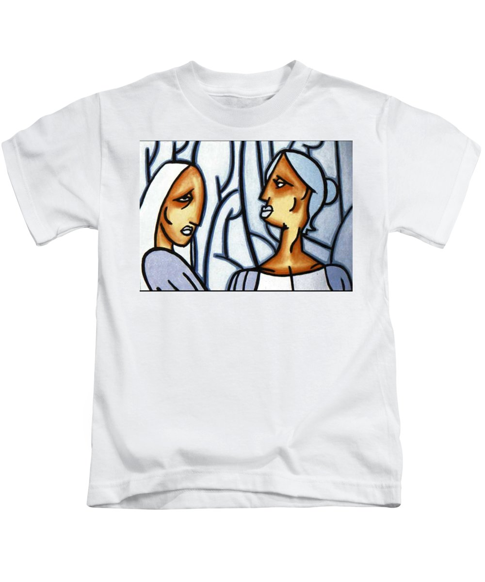 Portrait Kids T-Shirt featuring the painting Two Ladies by Thomas Valentine