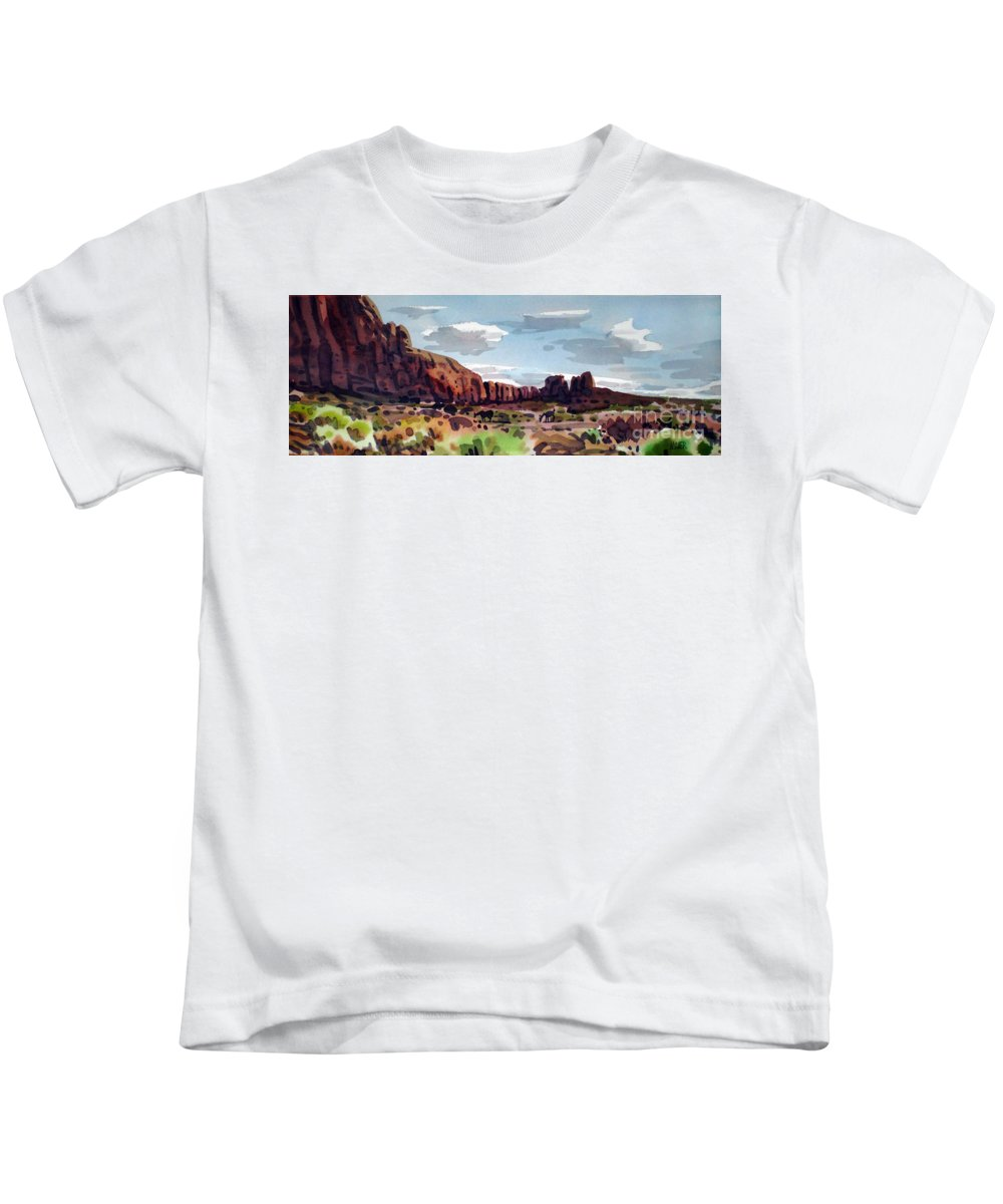 Horses Kids T-Shirt featuring the painting Two Mustangs by Donald Maier