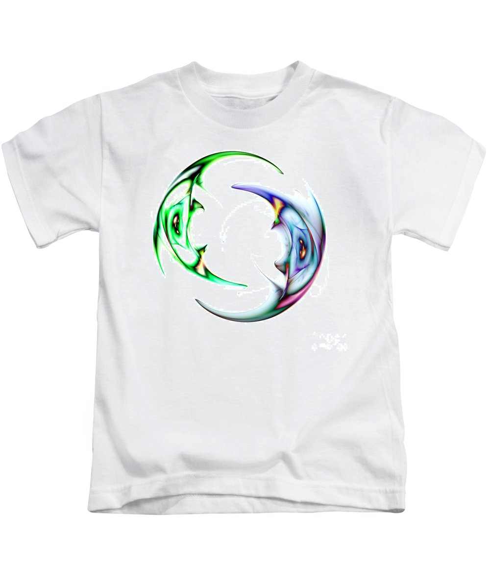 Abstract Modern Kids T-Shirt featuring the digital art Two Of 1 by Steve K