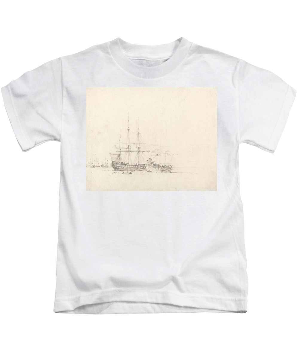 English Romantic Painters Kids T-Shirt featuring the drawing Two Ships At Anchor by John Constable