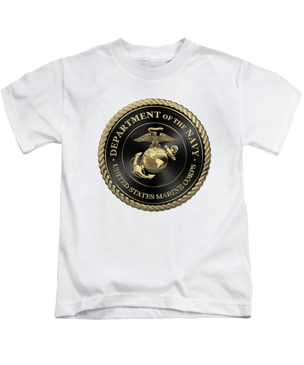 'military Insignia & Heraldry' Collection By Serge Averbukh Kids T-Shirt featuring the digital art U S M C Emblem Black Edition Over White Leather by Serge Averbukh