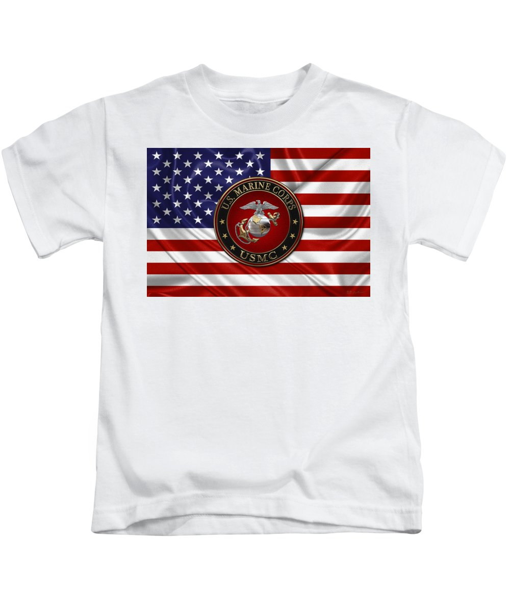 'usmc' Collection By Serge Averbukh Kids T-Shirt featuring the digital art U. S. Marine Corps - C O And Warrant Officer E G A Special Edition Over U. S. Flag by Serge Averbukh