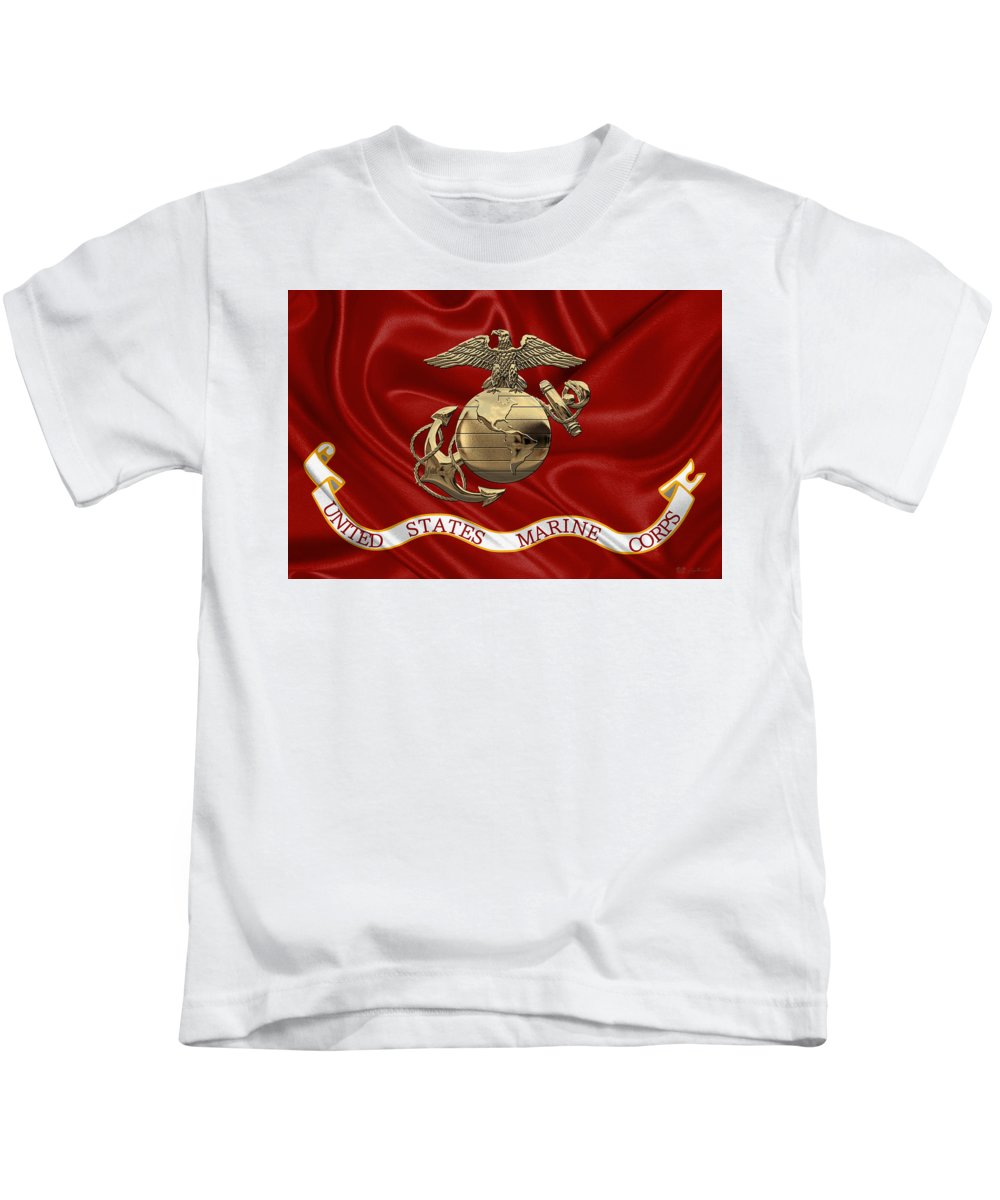 'usmc' Collection By Serge Averbukh Kids T-Shirt featuring the digital art U. S. Marine Corps - N C O Eagle Globe And Anchor Over Corps Flag by Serge Averbukh