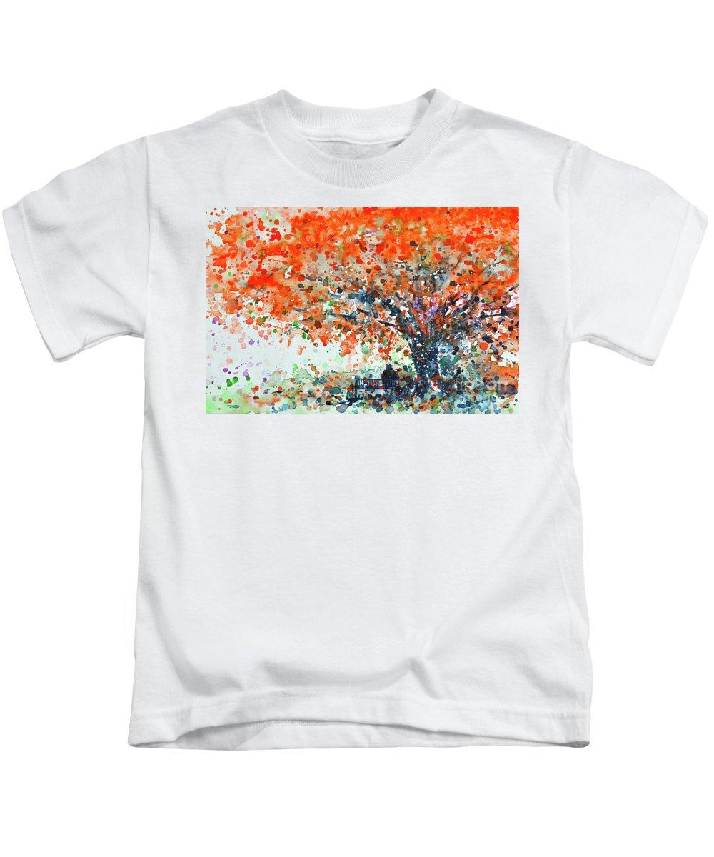 Puerto Rico Kids T-Shirt featuring the painting Under The Shade Of The Flamboyant by Zaira Dzhaubaeva