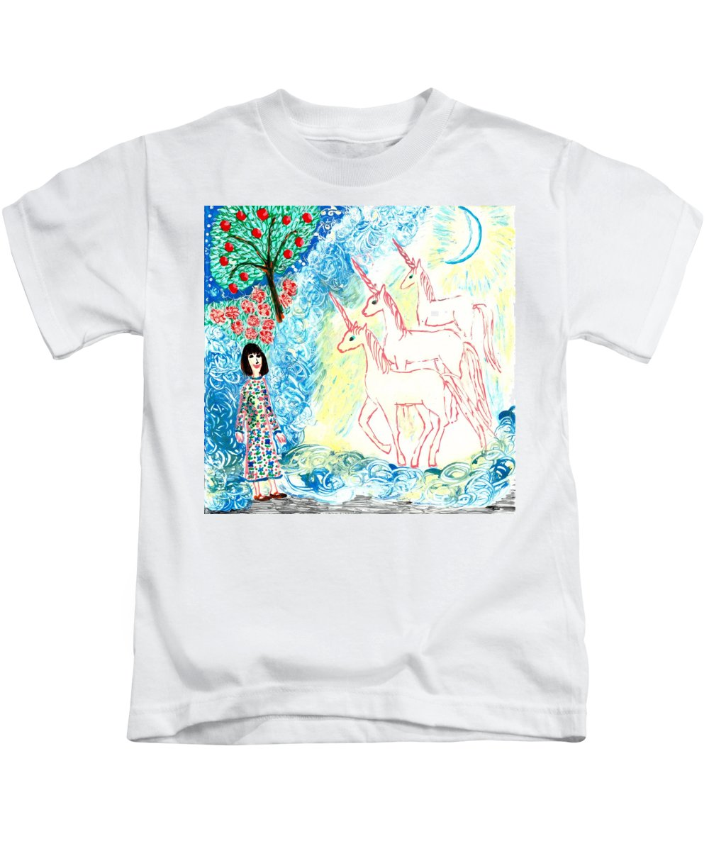Sue Burgess Kids T-Shirt featuring the painting Unicorns Come Home by Sushila Burgess