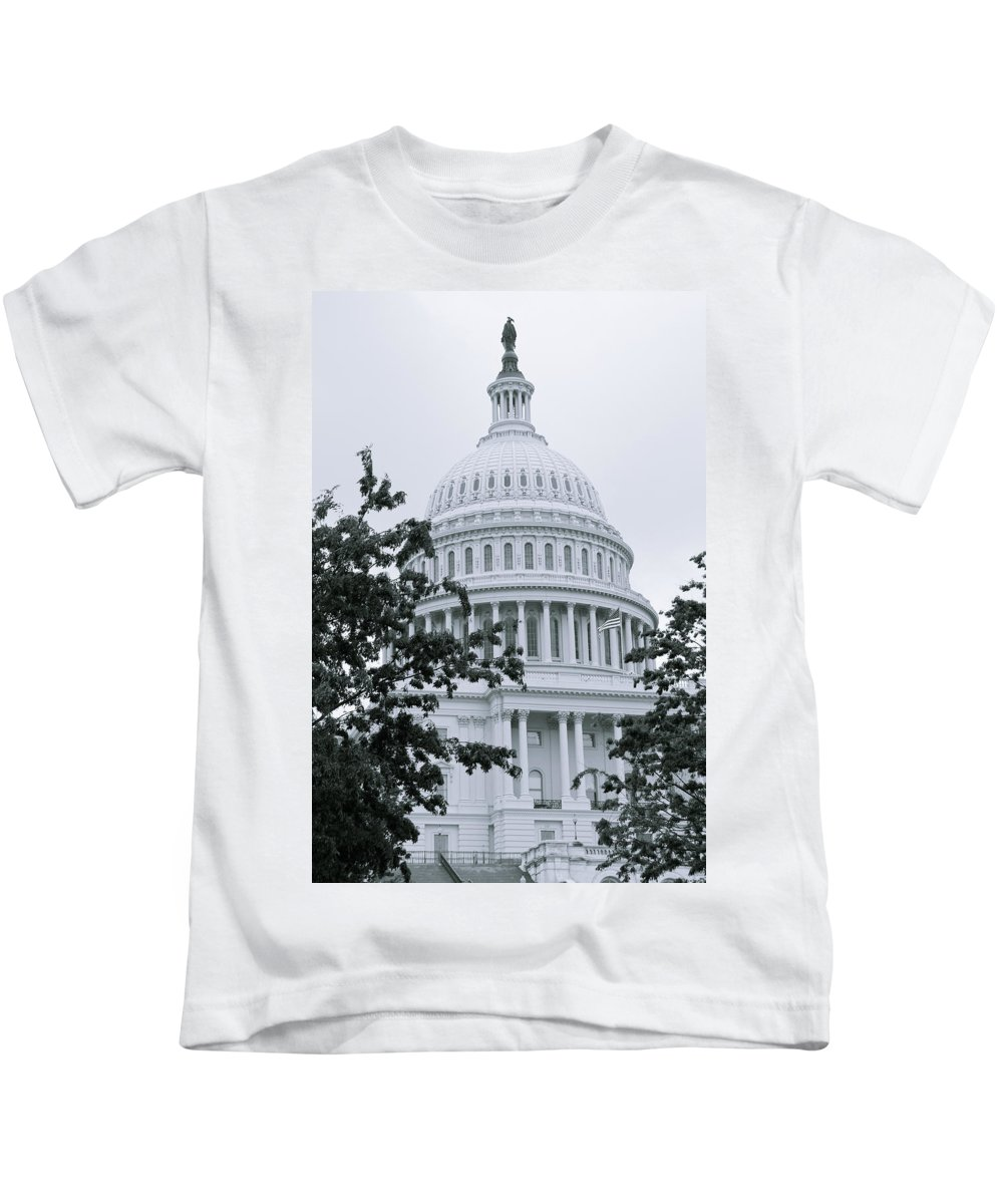 Capital Kids T-Shirt featuring the photograph United States Capital by Bob Mintie