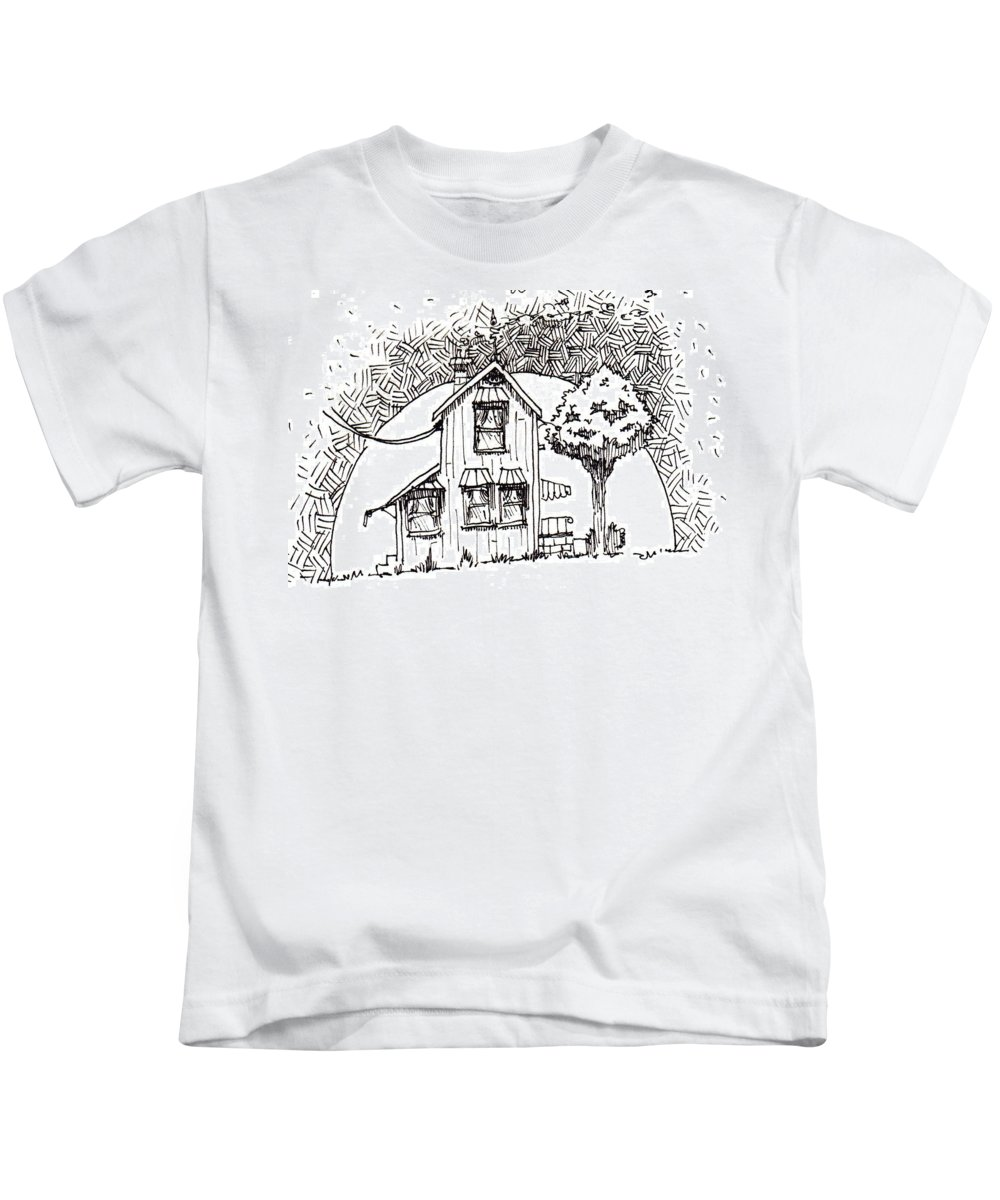 House Kids T-Shirt featuring the drawing Untitled by Tobey Anderson