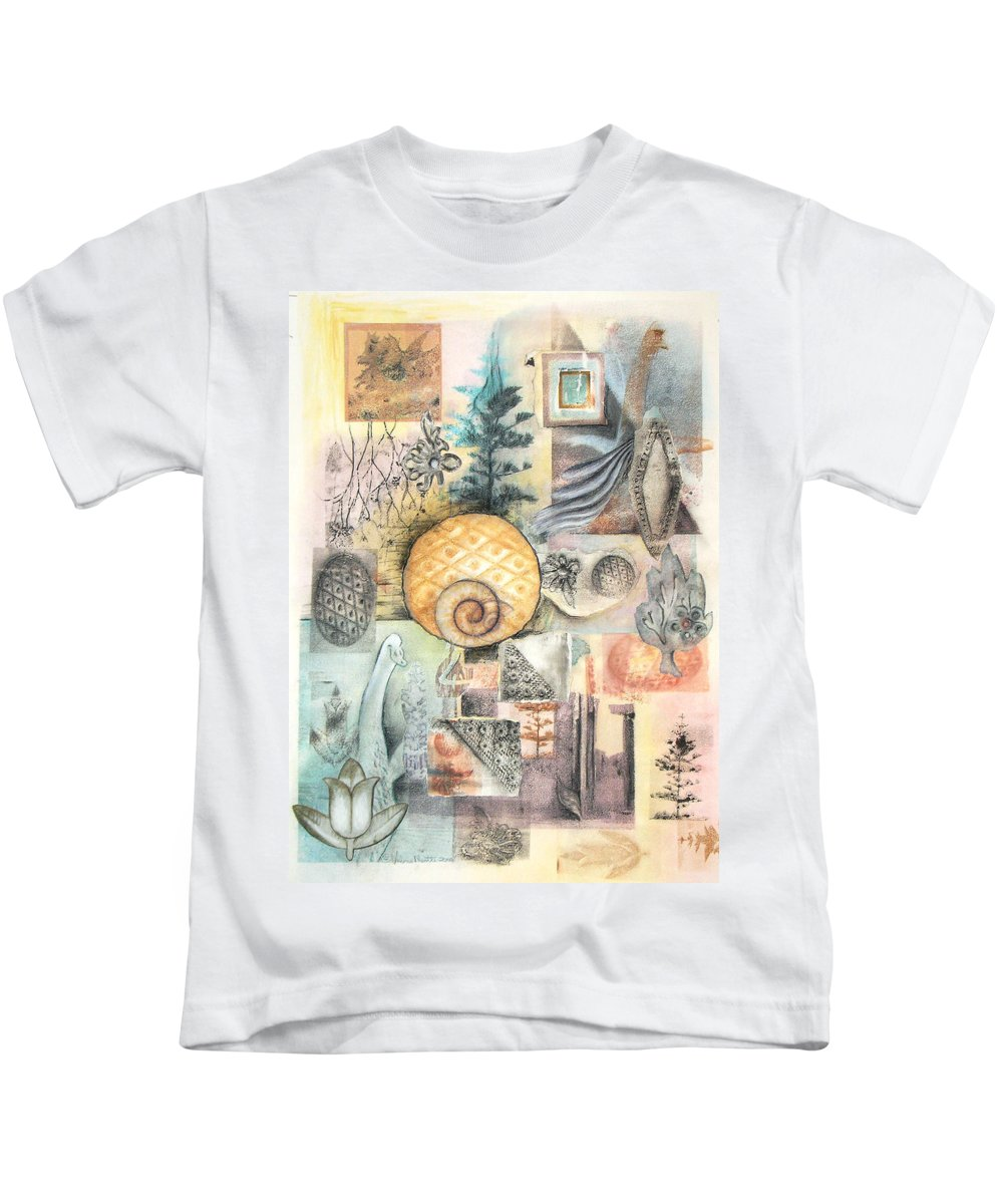 Abstract Kids T-Shirt featuring the mixed media Up And Away by Valerie Meotti