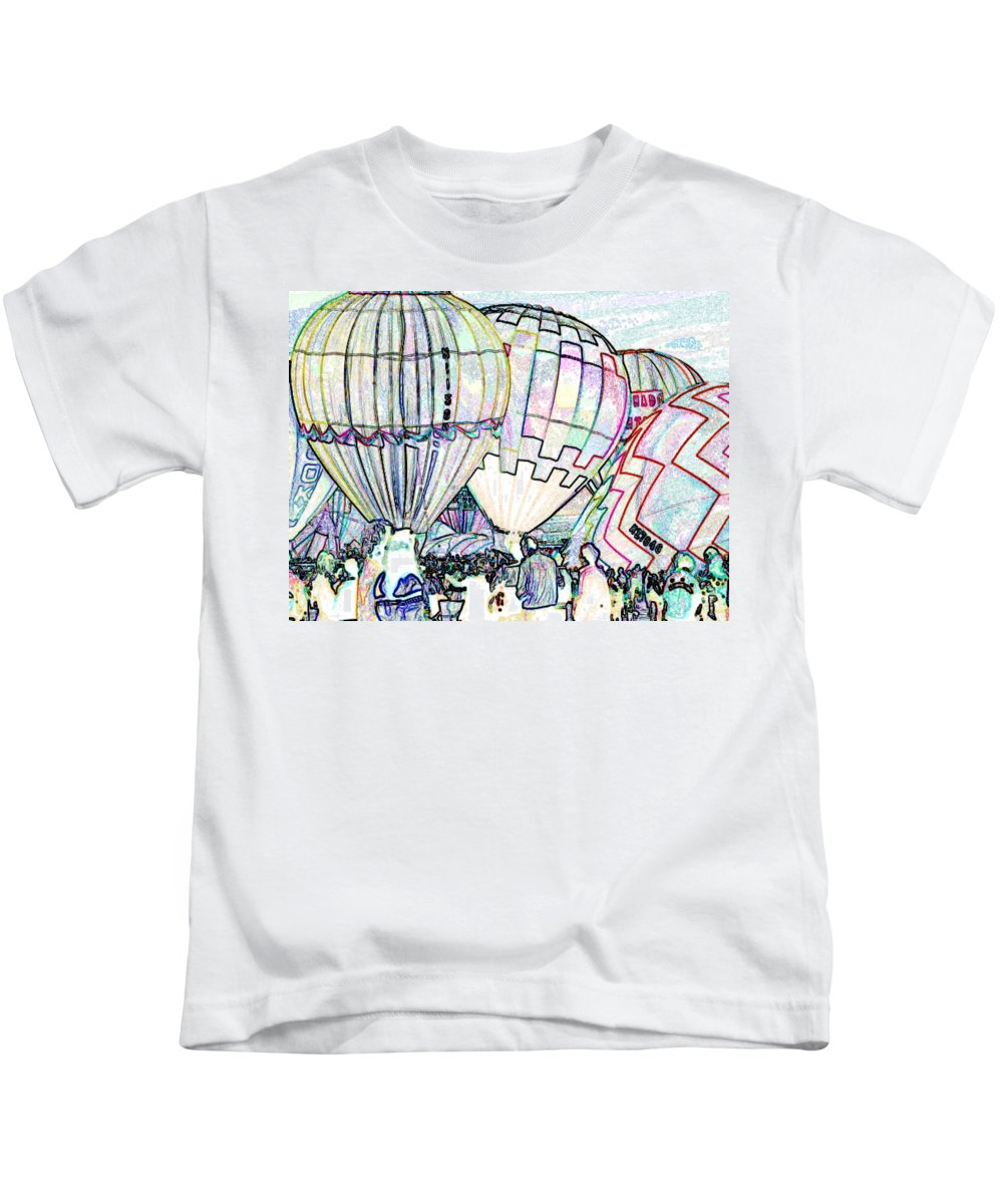 Balloons Kids T-Shirt featuring the photograph Up Up And Away by Tim Allen