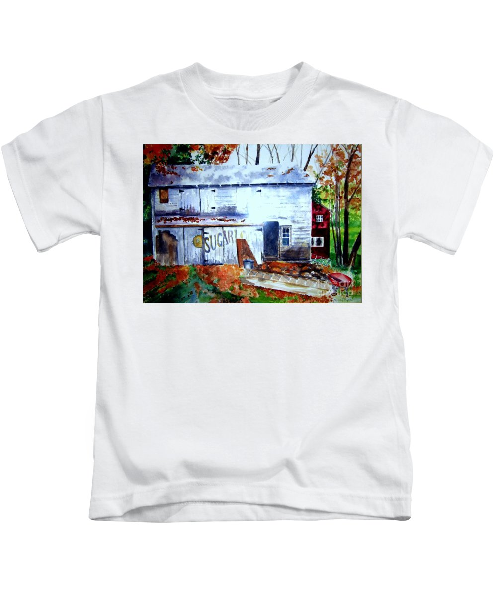 Autumn Kids T-Shirt featuring the painting Upstate Barn by Sandy Ryan