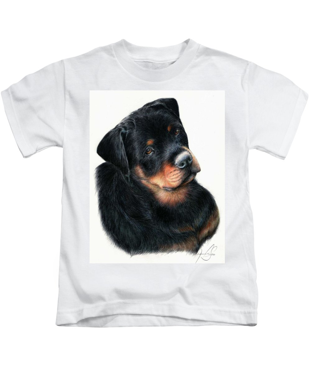 Dog Portraits Kids T-Shirt featuring the mixed media Urso by Renata Clare
