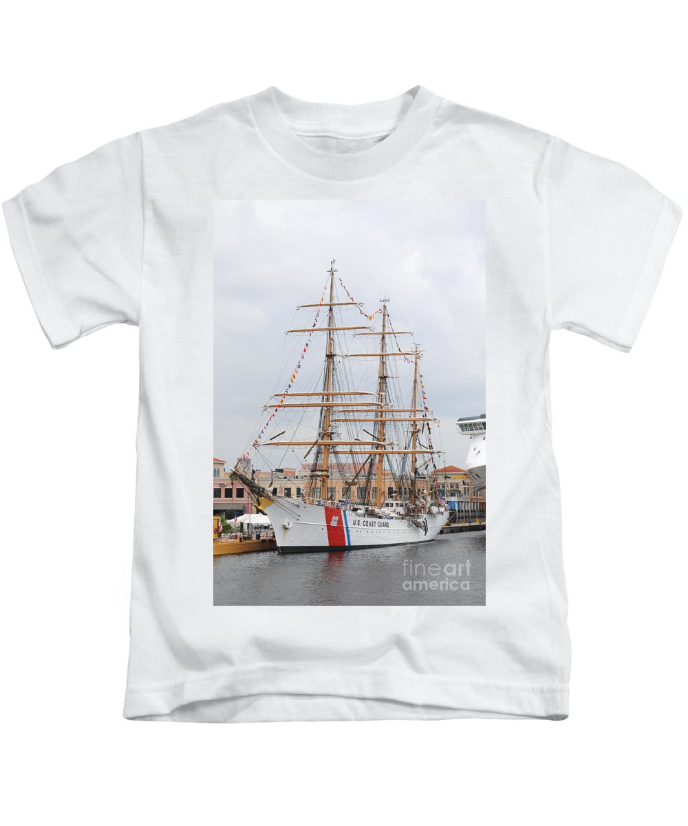 Ship Kids T-Shirt featuring the photograph Us Cutter by Jost Houk
