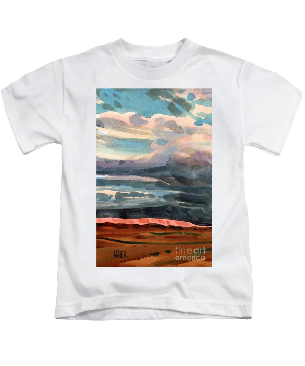 Western Landscape Kids T-Shirt featuring the painting Utah Skyline by Donald Maier