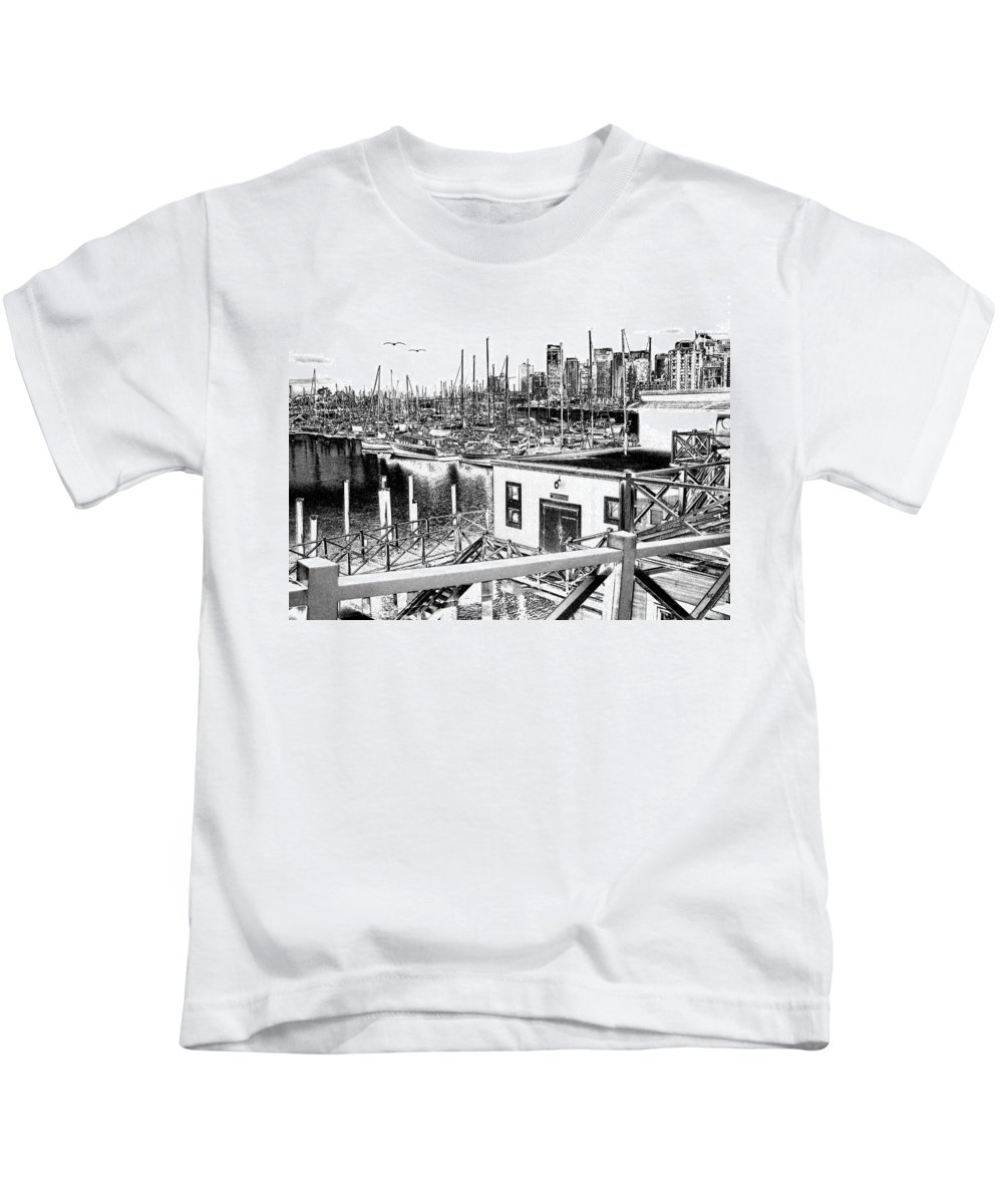 Vancouver Kids T-Shirt featuring the digital art Vancouver Waterfront by Will Borden