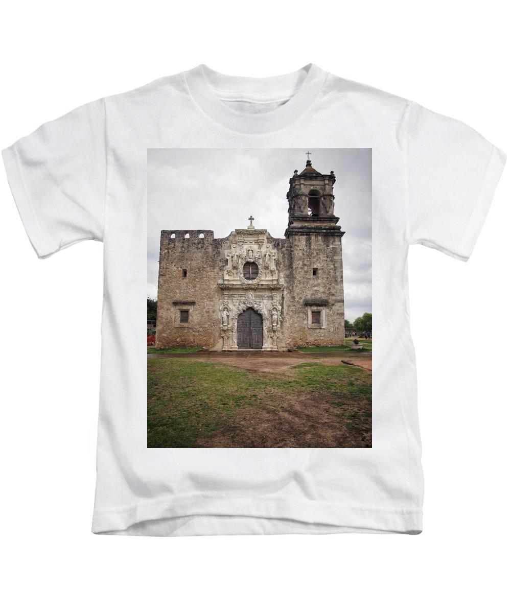 Facade Kids T-Shirt featuring the photograph Vertical Mission Facade by Buck Buchanan