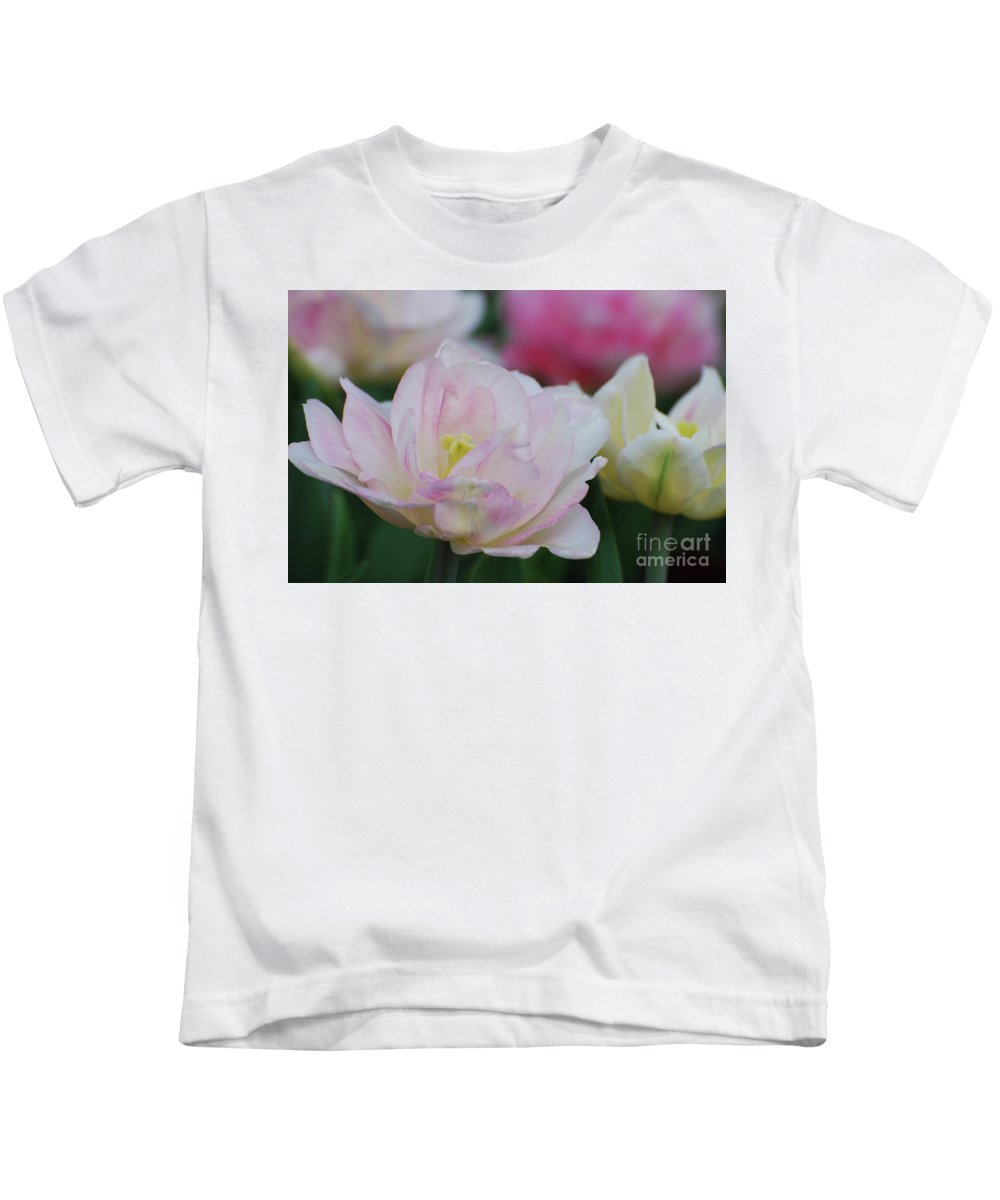Tulip Kids T-Shirt featuring the photograph Very Pretty Pale Pink Parrot Tulip Flower Blossom by DejaVu Designs