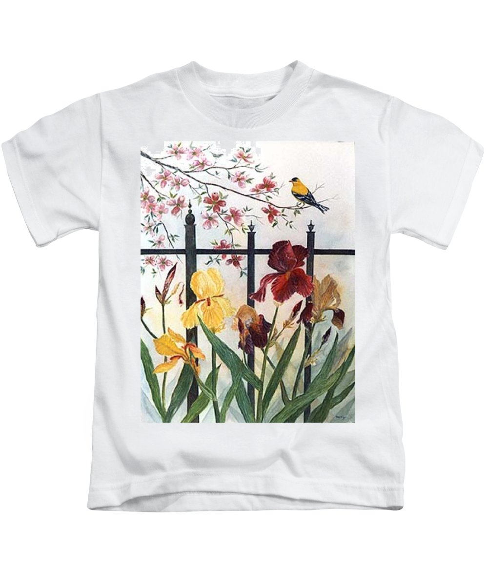 Irises; American Goldfinch; Dogwood Tree Kids T-Shirt featuring the painting Victorian Garden by Ben Kiger