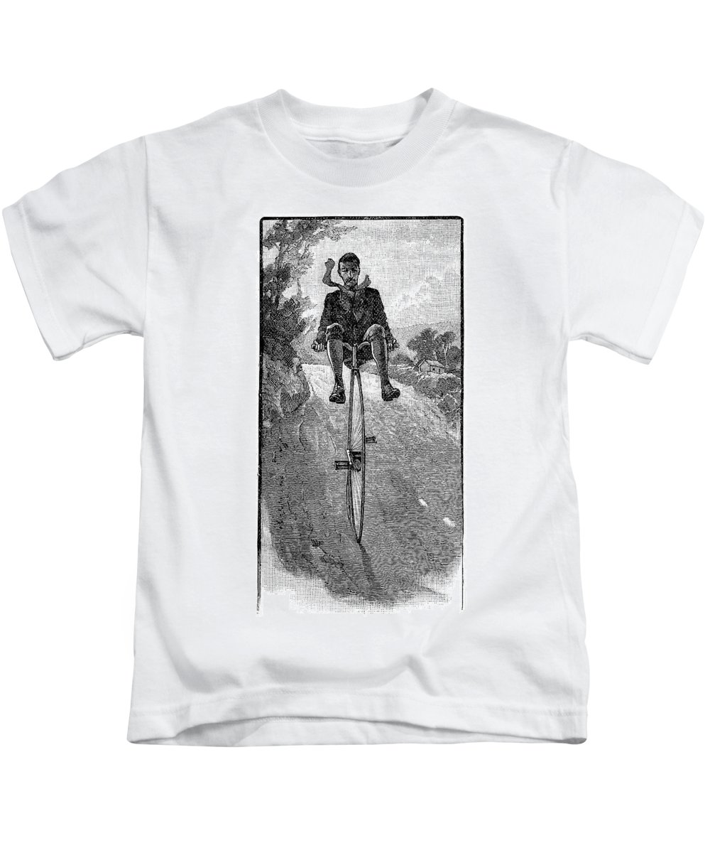 1800s Kids T-Shirt featuring the drawing Victorian Gentleman On A Penny-farthing by Neil Baylis