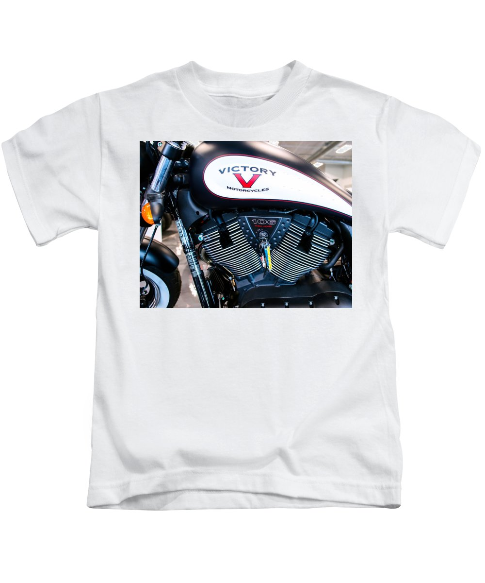 Victory Kids T-Shirt featuring the photograph Victory Bike Red by Rospotte Photography