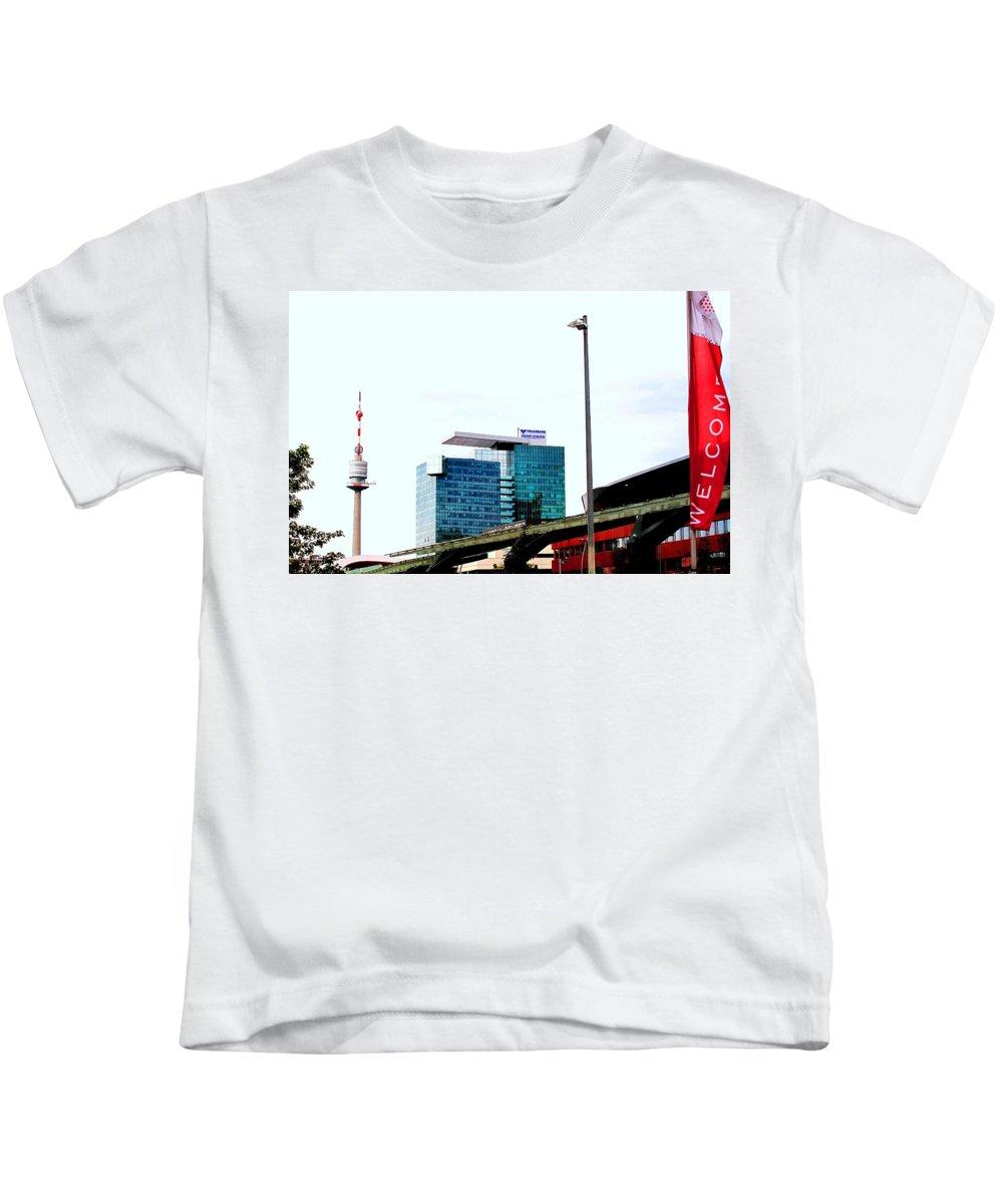Vienna Kids T-Shirt featuring the photograph Vienna Volksbank by Ian MacDonald
