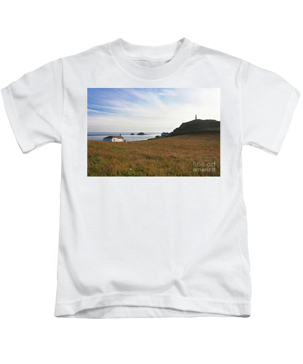 St Helen's Oratory Kids T-Shirt featuring the photograph View From St Helen's Oratory Cape Cornwall by Terri Waters
