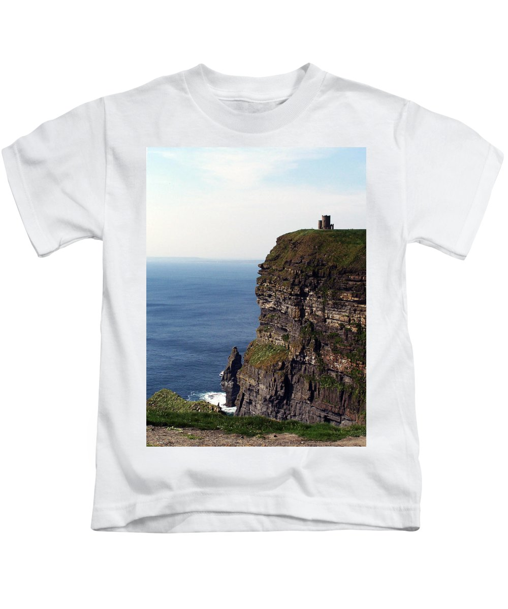 Irish Kids T-Shirt featuring the photograph View Of Aran Islands And Cliffs Of Moher County Clare Ireland by Teresa Mucha