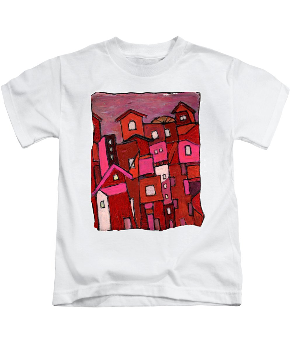 Village Kids T-Shirt featuring the painting Village In Pink by Wayne Potrafka