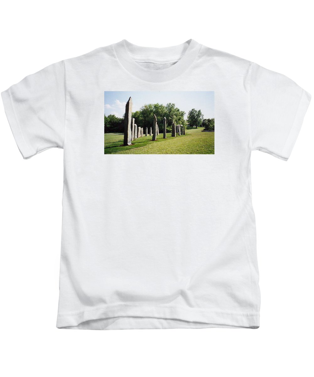 Historic Sculpture From 1999 Kids T-Shirt featuring the sculpture Vinland by Jarle Rosseland