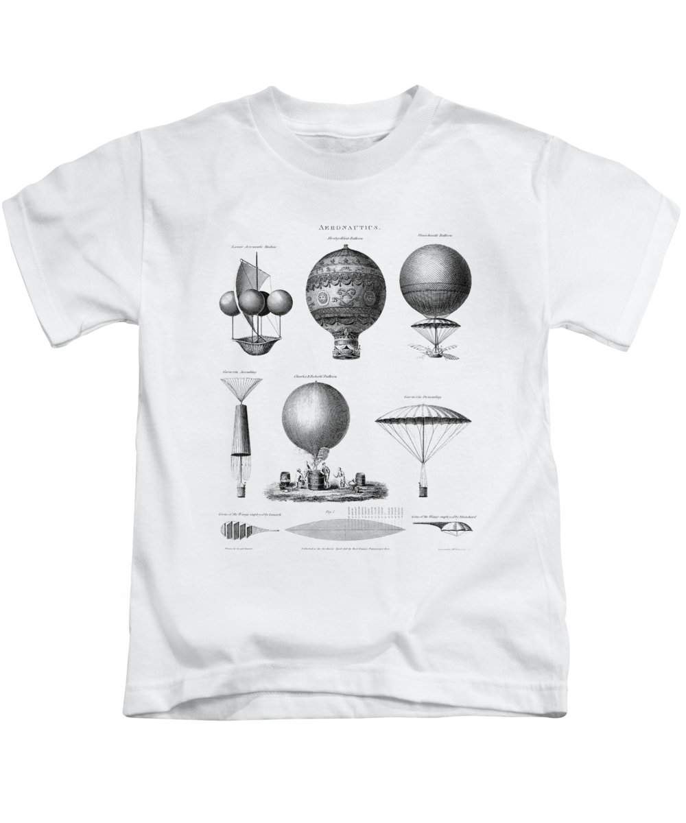 Balloonist Kids T-Shirt featuring the mixed media Vintage Aeronautics - Early Balloon Designs by War Is Hell Store