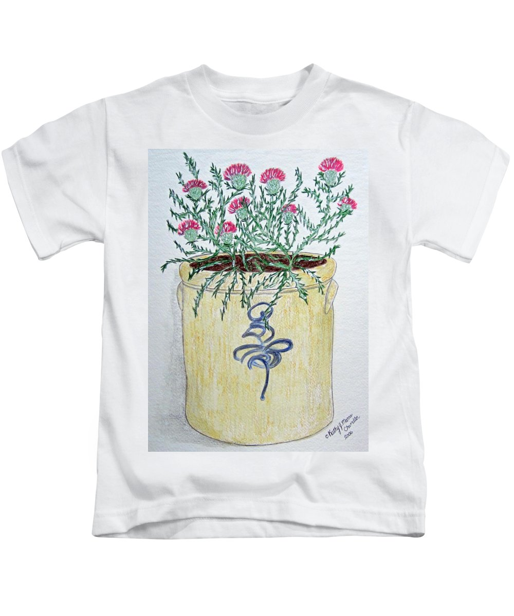 Vintage Kids T-Shirt featuring the painting Vintage Bee Sting Crock And Thistles by Kathy Marrs Chandler