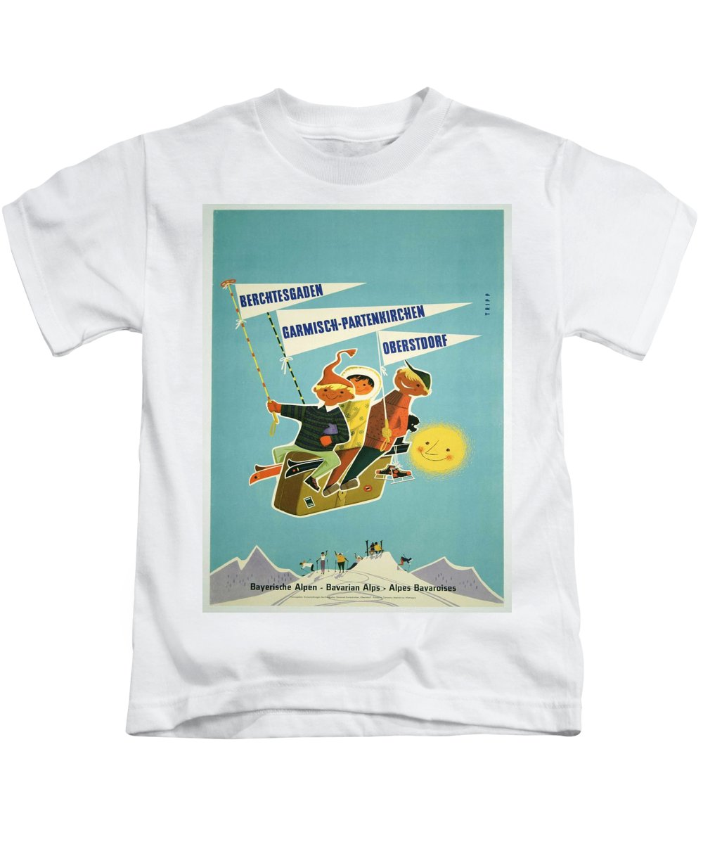 Vintage Poster Kids T-Shirt featuring the painting Vintage Poster - Bavarian Alps by Vintage Images