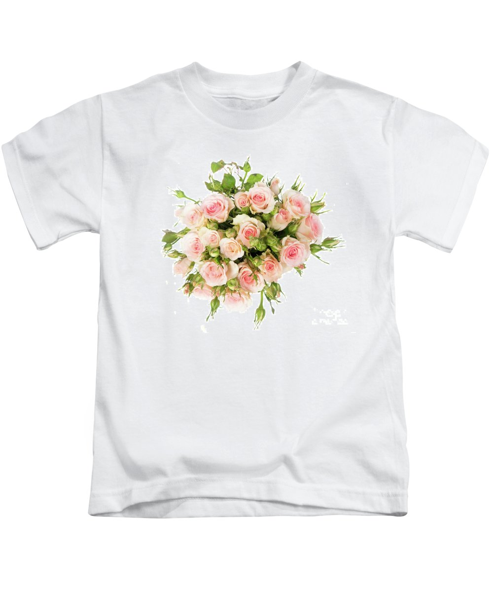 Rose Kids T-Shirt featuring the photograph Bouquet Of Garden Roses by Anastasy Yarmolovich