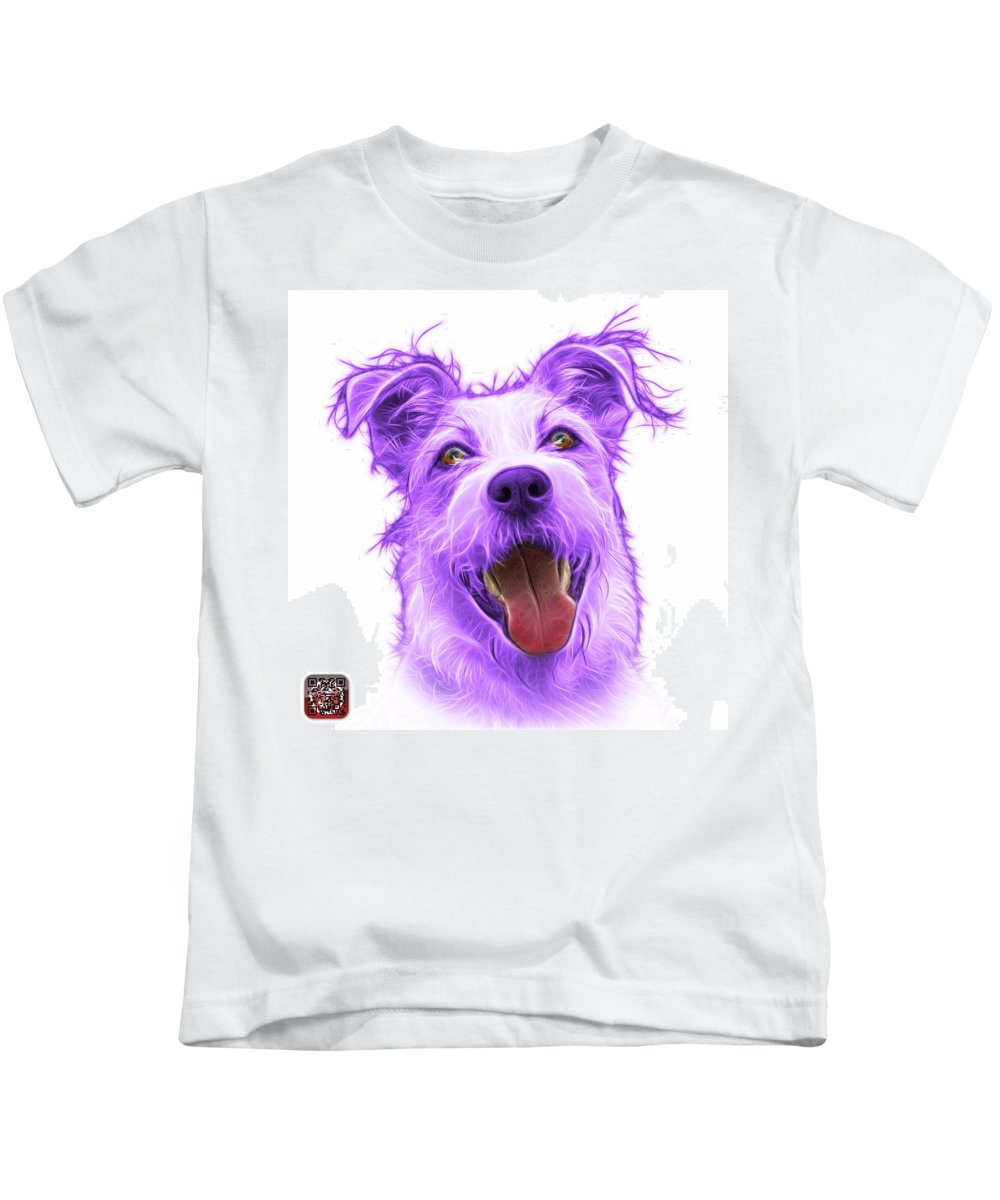 Terrier Kids T-Shirt featuring the painting Violet Terrier Mix 2989 - Wb by James Ahn