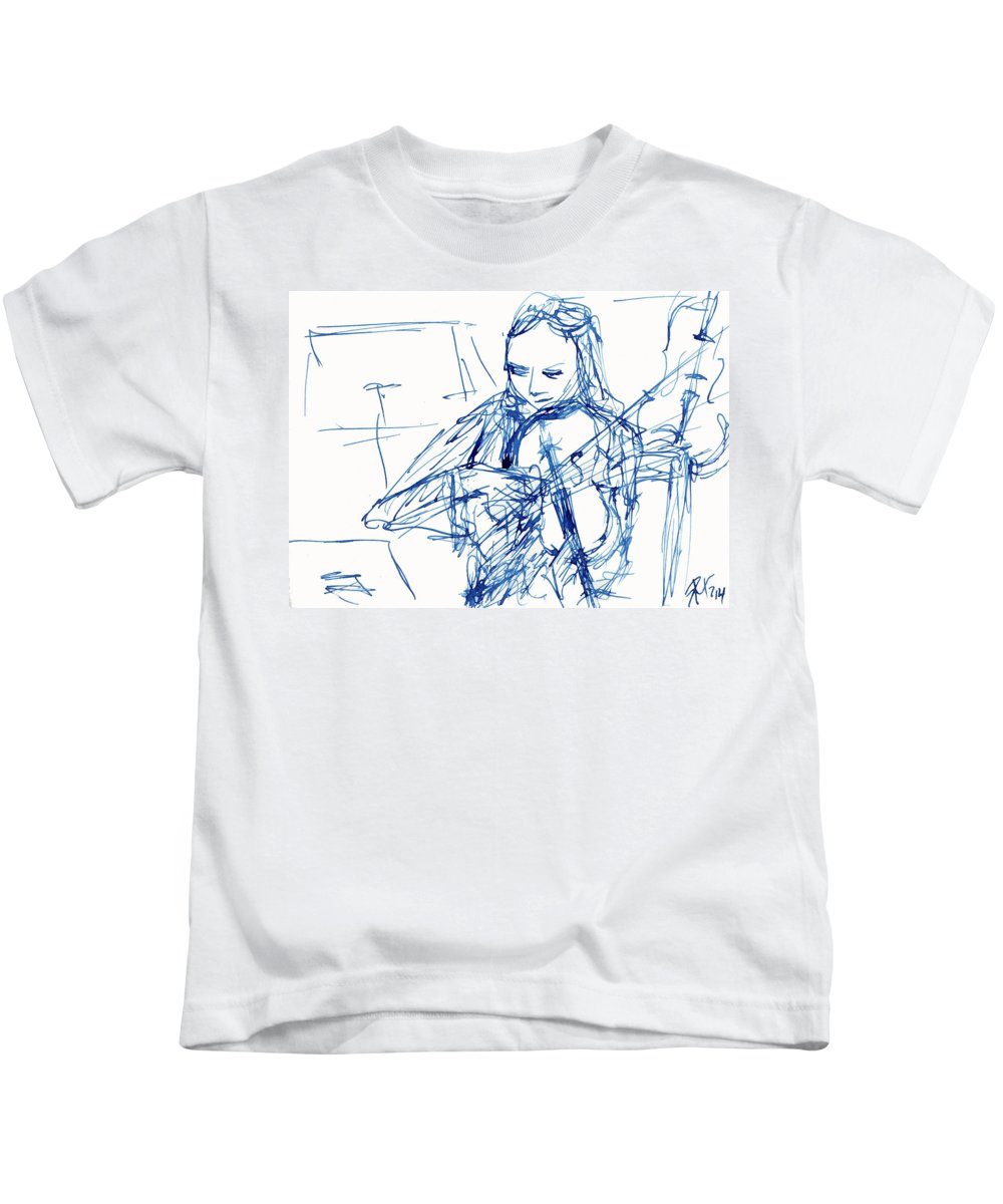 Violinist Kids T-Shirt featuring the painting Violinist In Blue II by Ruth Gonzalez