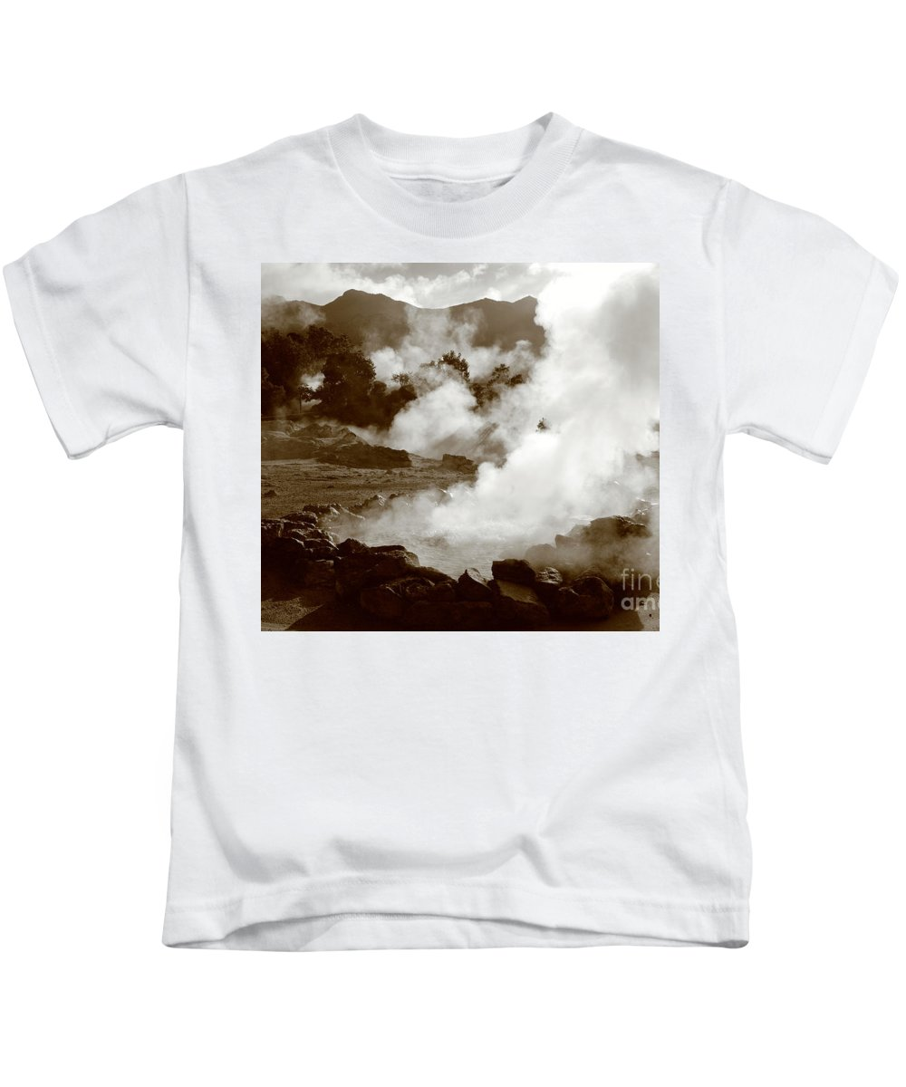 Azores Kids T-Shirt featuring the photograph Volcanic Steam by Gaspar Avila