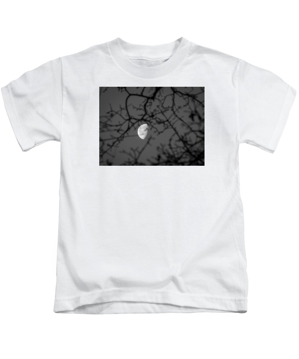 Waning Gibbous Kids T-Shirt featuring the photograph Waning Black And White by Michele James