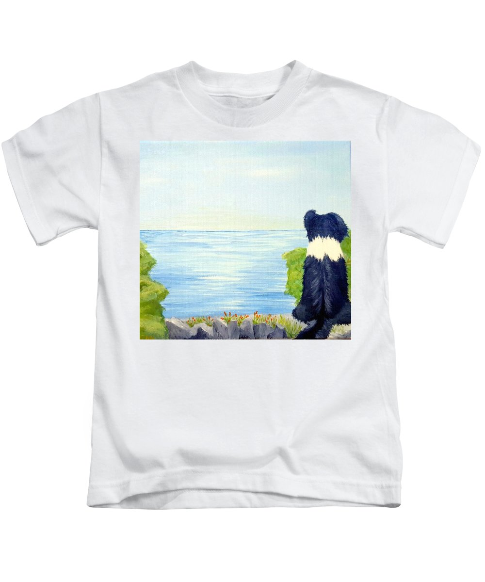 Border Collie Kids T-Shirt featuring the painting Waiting by Suzan Roberts-Skeats